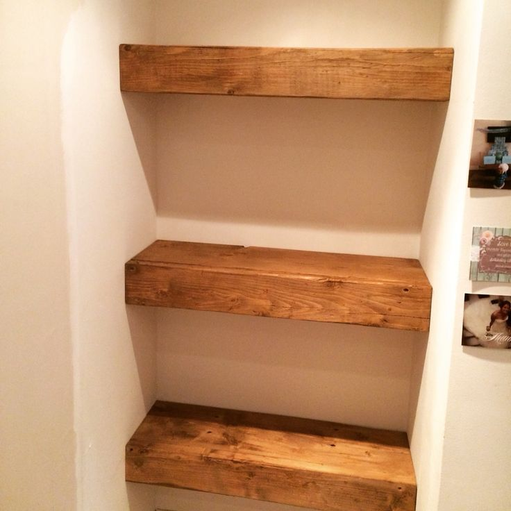 Custom made, scribed and fitted floating alcove shelves. Chunky, rustic floating shelf