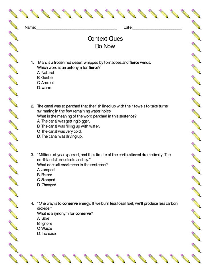 Page 4 - Context Clues Do Now Exercises