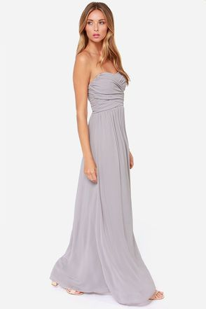 Grey Maxi Dress - Strapless Dress - Maxi Dress - $68.00