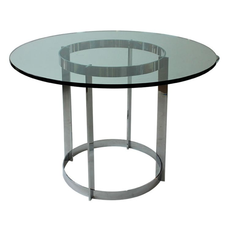 1stdibs.com | Round Glass Top Stainless Steel Flat Bar Table