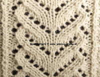Website with several lace stitches in patterns (written and with chart)