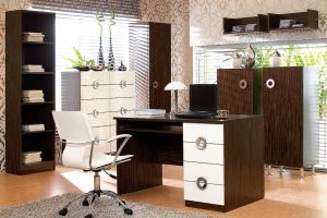 Ringo BRW Home Office (Study). Dark morioka colour with exposed exotic pattern contrasts with the intense gloss on large round handles and feet. Polish BRW Modern Furniture Store in London, United Kingdom #furniture #polish #brw #homeoffice