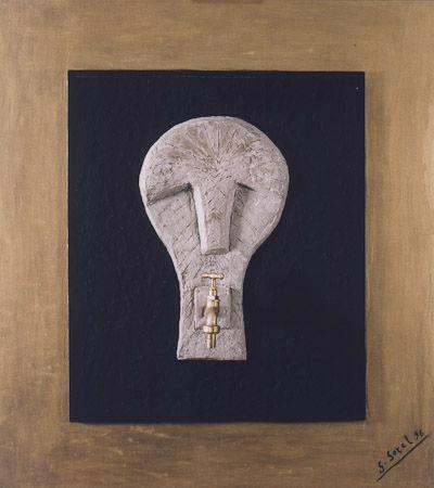 The truth Oil, quartz sand, brass, wooden frame, 1996, 90x80 cm