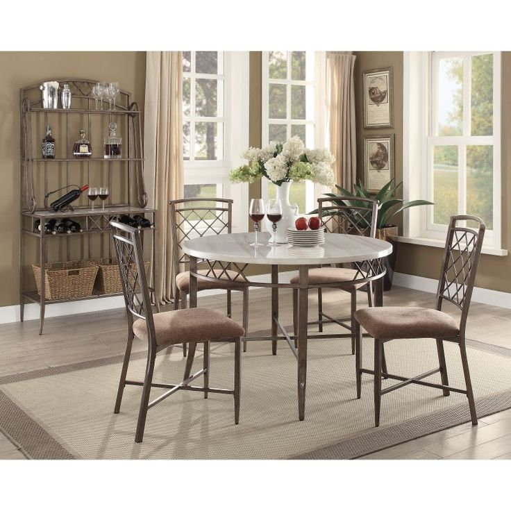 Acme Aldric Faux Marble Dining Table   73000 Part 62