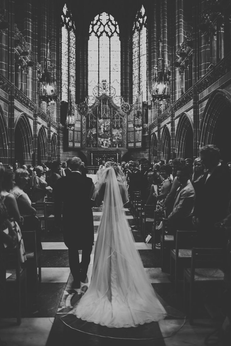 A Bohemian Wedding At Liverpool Cathedral And Owen House Farm Cheshire With Bride In Vintage Family Heirloom Gown Redesigned By Agape Bridal Boutique And A Cathedral Length Veil With Bridesmaids In Shades Of Plum And Cerise With Flowers From Swallows And Damsons And Images From James Melia Photography | Rock My Wedding