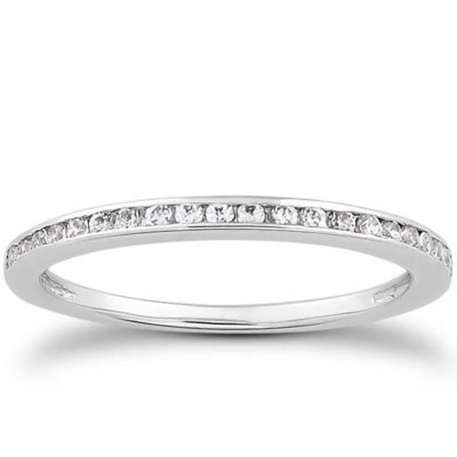 14K White Gold Slim Profile 1/5 CT TW Channel Set Diamond Wedding Ring Band