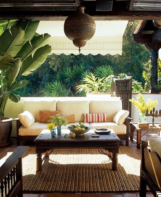 Outdoor Living Space on covered deck, love the decor!