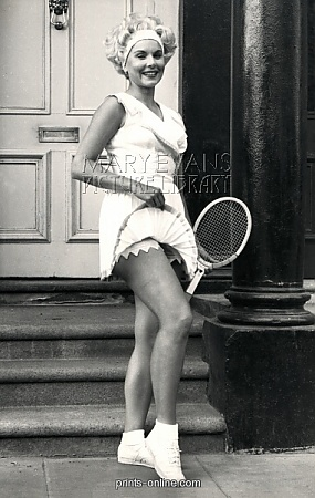 Another Design from Ted Tinling... quite daring for his time, no?    Tennis player Karol Fageros.  Copyright © Mary Evans/Michael Cole Tennis Archives