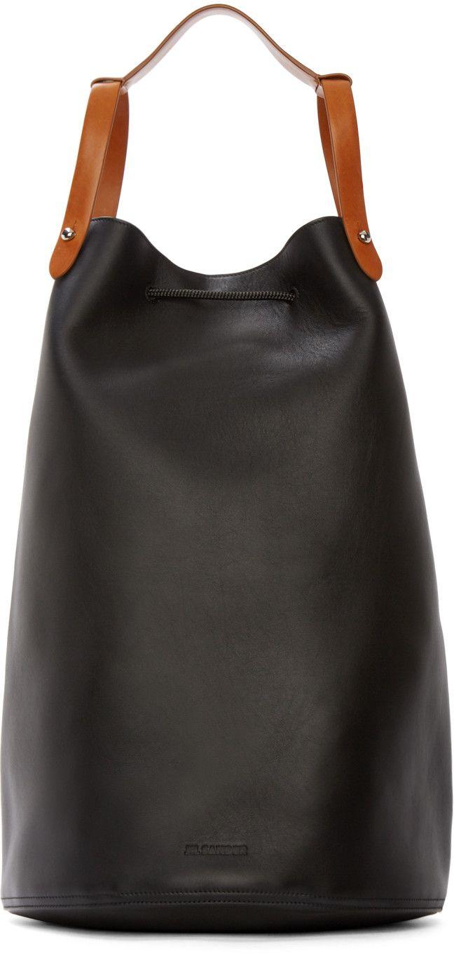 Jil Sander Black Leather Runway Backpack