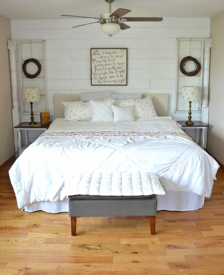 Old Windows in Bedroom Farmhouse Decor