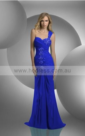 Sleeveless None One Shoulder Floor-length Chiffon Evening Dresses dt00034