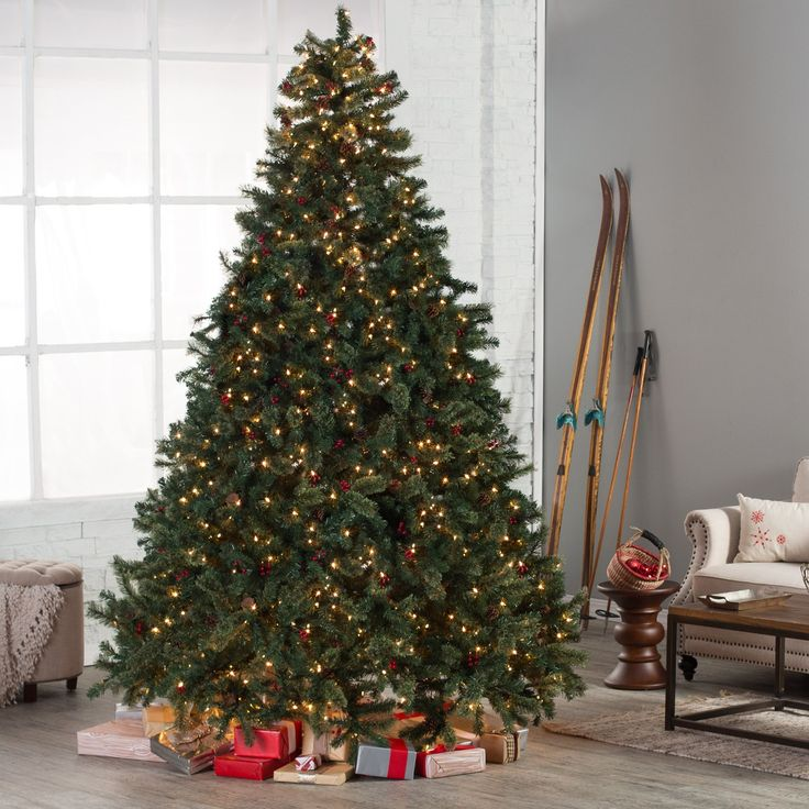 Have to have it. Classic Full Pre-lit Christmas Tree with Berries and Pine Cones - Clear - $259.98 @hayneedle