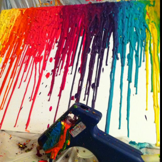 Run crayons through a hot glue gun onto canvas.  Instant awesome. Oh man this is SO cool cannot wait till I have a chance to do this!!!!.