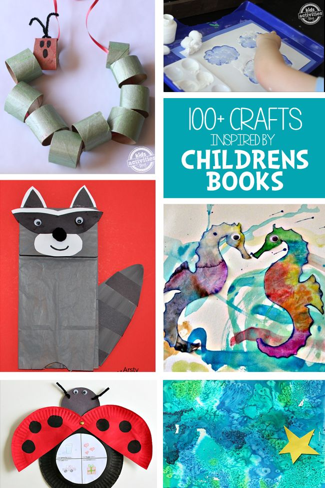 "From Dr. Seuss to Eric Carle, help make your child's favorite book come to life with these 100 book-inspired crafts! (via ""Kids Activities Blog"")"