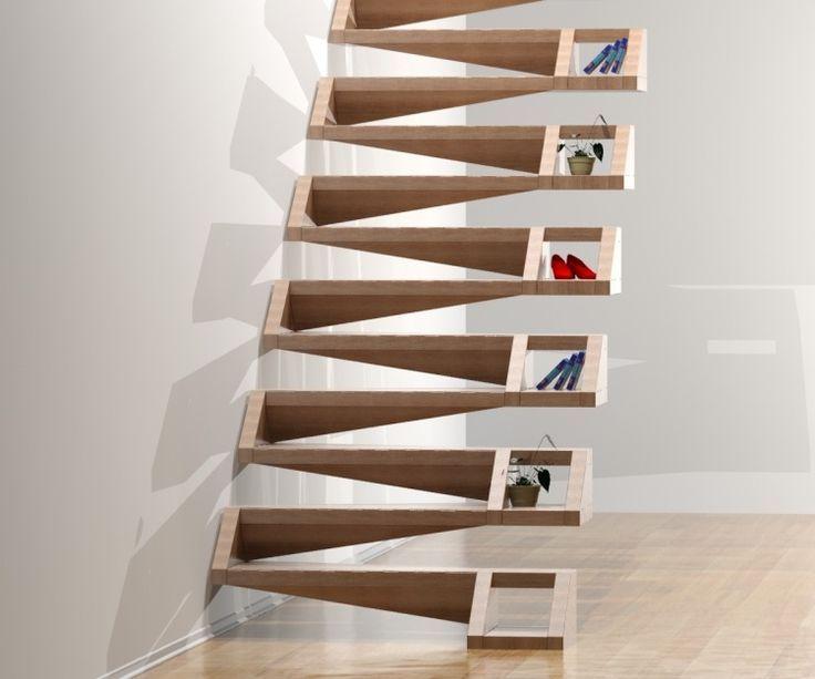 escalier suspendu en bois de design moderne avec espace de rangement