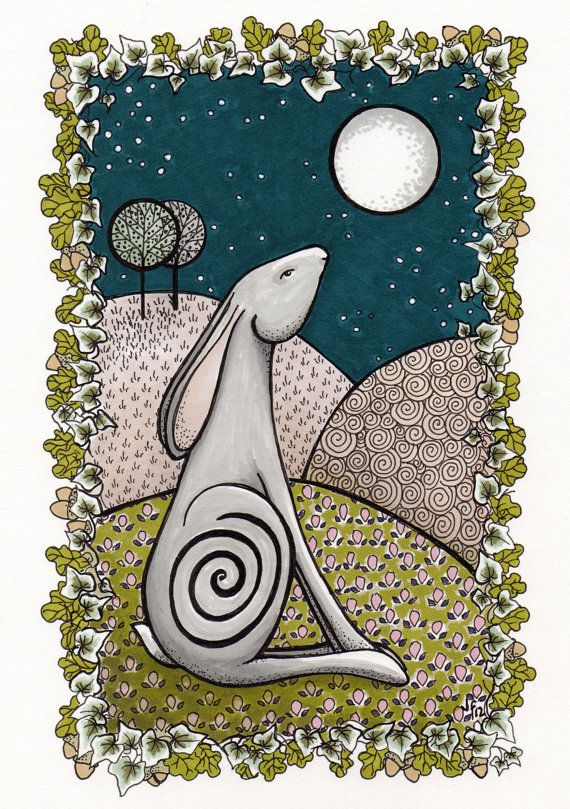 Moon gazing Hare greetings card from an original by JanFowlerArt, £1.50