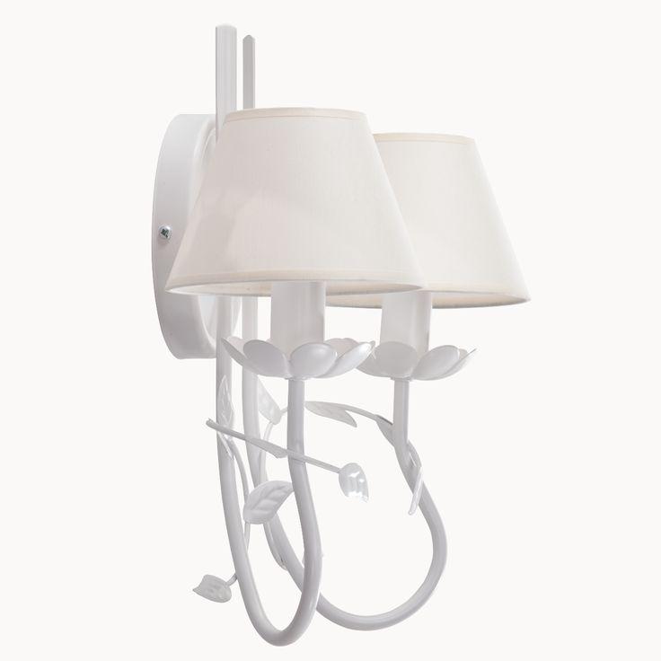 Kinkiet podwójny FILON w stylu romantycznym dostępny na naszej stronie www.przystojnelampy.pl   #lampa #kinkiet #lamp #lamps #lampy #oświetlenie # lampa z abażurem #abażur #styl romantyczny #romantic #romantyczny #white #biała lampa #biały kinkiet