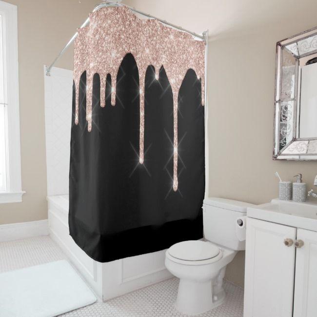 Sparkly Glitter Drips Pink Rose Gold Blush Black Shower Curtain Zazzle Com Black Shower Curtains Pink Bathroom Decor Black Shower