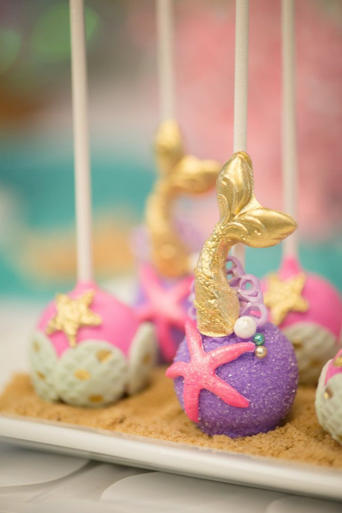Mermaid cake pops from a Magical Mermaid Birthday Party on Kara's Party Ideas | http://KarasPartyIdeas.com (11)