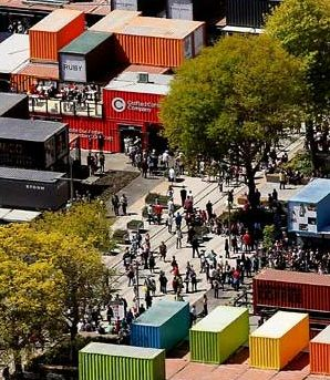 Christchurch, New Zealand - a shopping mall built from shipping containers, very novel