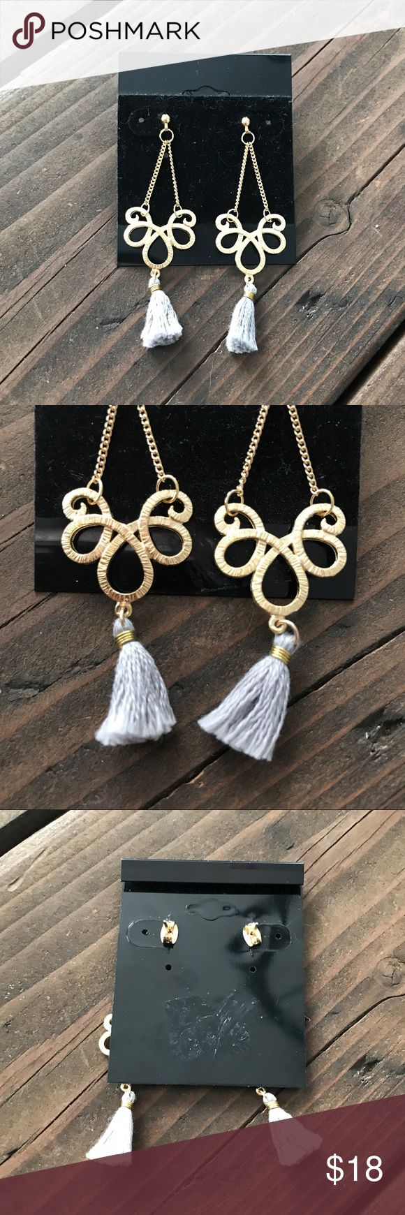"Vintage Gold & Grey Chandelier Tassel Earrings Stunning Vintage Chandelier Earrings Gold in Color with a Grey Tassel Dangling at Bottom 2.25"" Long from Top to Bottom Butterfly Closure Jewelry Earrings"