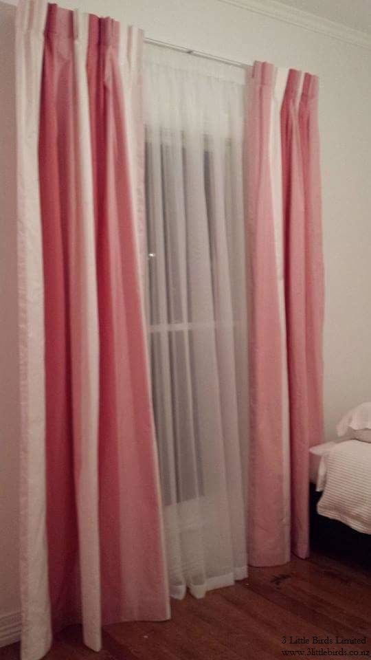 Bold pink and white stripes - curtain