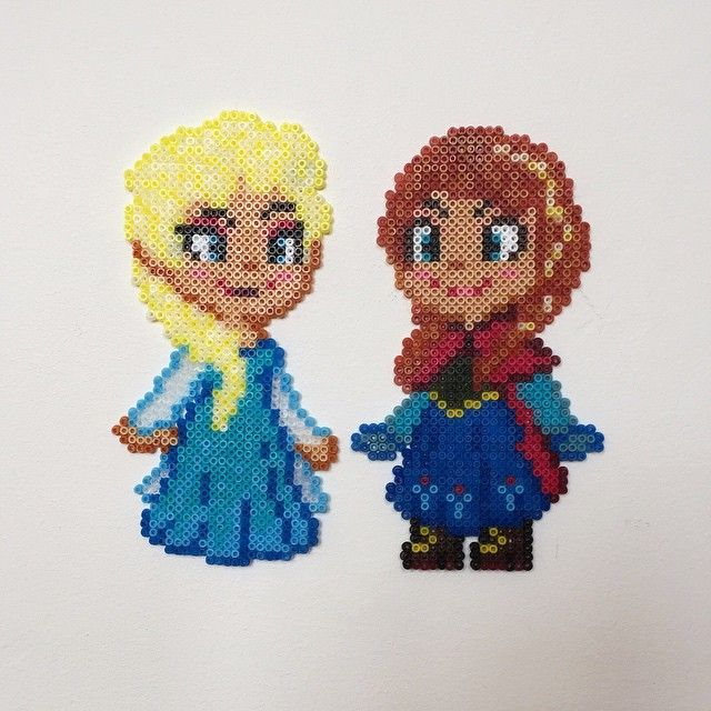 Elsa and Anna - Frozen hama mini beads by alsterbead