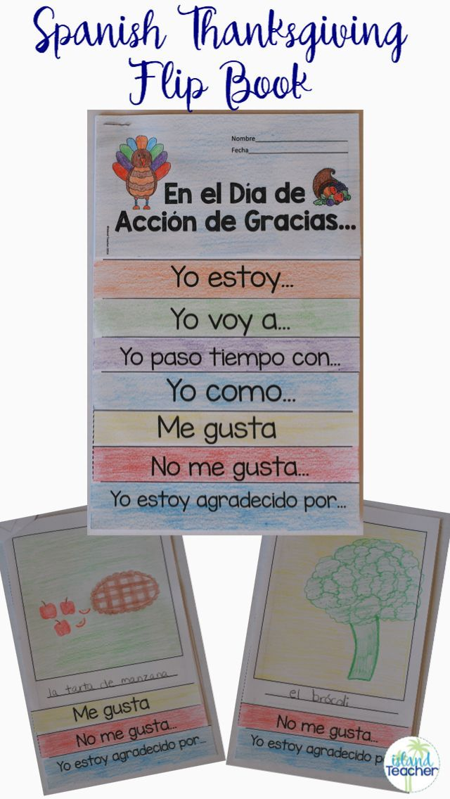 Spanish Thanksgiving Flipbook. Students complete sentence starters and add drawings to talk about Thanksgiving in Spanish.