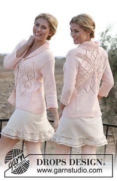 Gebreid DROPS vest van Muskat met vierkant op het achterpand, kantpatroon en ¾ mouwen. Maat: S - XXXL Gratis patronen van DROPS Design.