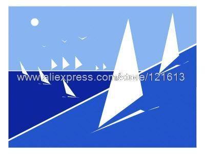 Riche Lapenna soleil brille sur bleu océan parsemée de lumière Skiffs peintures à l'huile sur toile décoration art home decor mur p(China (Mainland))