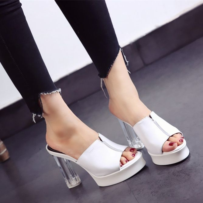 $36.50,  Women's Contrast Super High(8cm-up) Strange Heels Slides Slippers
