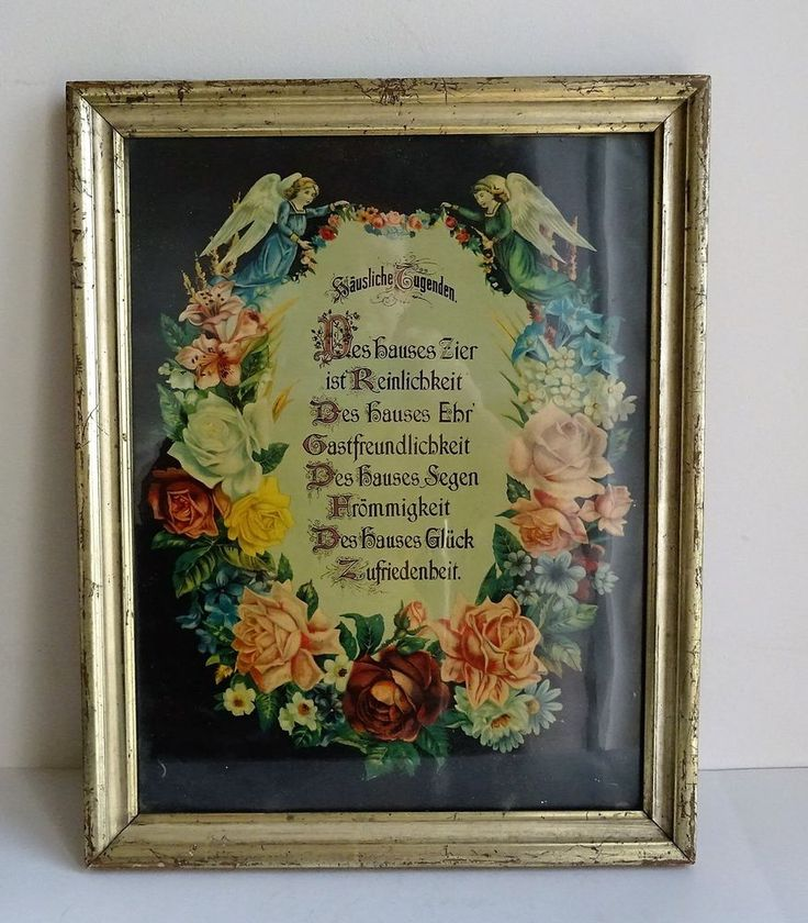 Frame Berliner Leiste Waschgoldrahmen Holz Gold um 1880 Haussegen Engel Putto
