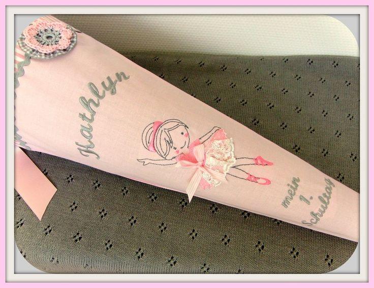 """Schultüte+""""Ballerina"""",+rosa+grau,+Wunschname+von+Mit-Herz-und-Hand+auf+DaWanda.com"""