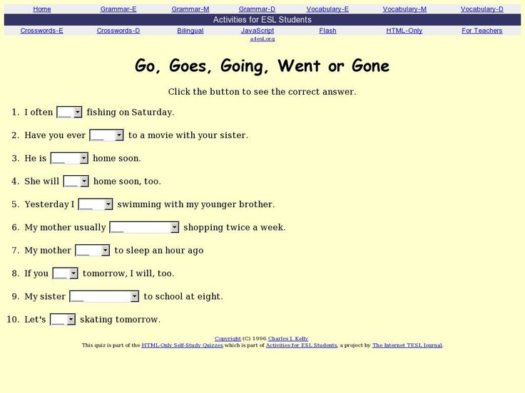 Go, Goes, Going, Went or Gone Quiz from http://a4esl.org/