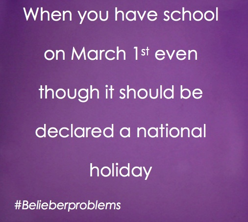 I know!! But remember BELIEBERS we have to where as much purple as we can on March 1st (just a few days away). Gosh I can't believe how old my baby is. Time goes by so fast!! #LOVEMESOMEBIEBER