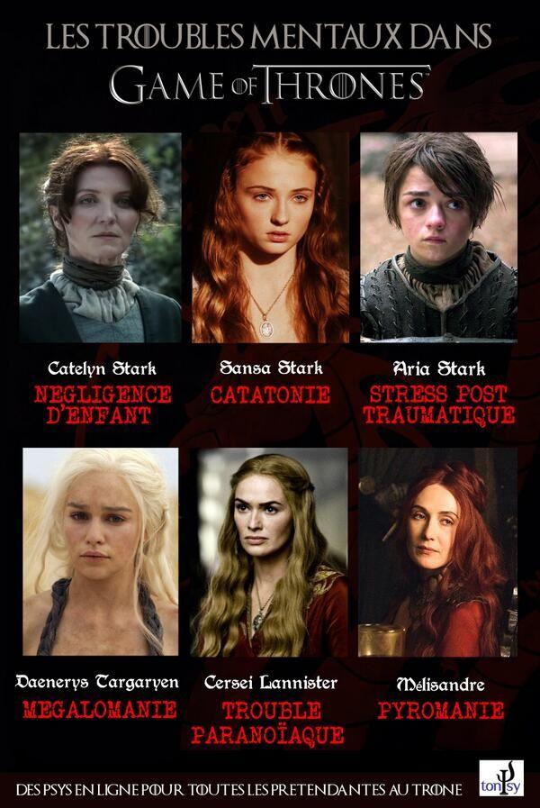 Vous avez aimé l'épisode d'hier de Game of Thrones ? Nous aussi. Elles aussi auraient dû consulter... #GameOfThrones #Psychologie #Stark #Lannister #Targaryen