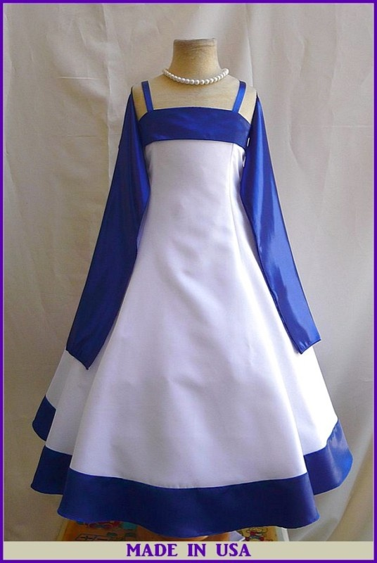 Emma's dress for Steve/Gabby's wedding (with a lighter blue)  NEW WHITE ROYAL BLUE FLOWER GIRL WEDDING PARTY DRESS