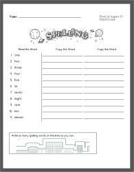 Spelling Words Practice - Mixed Spelling PDF Printable