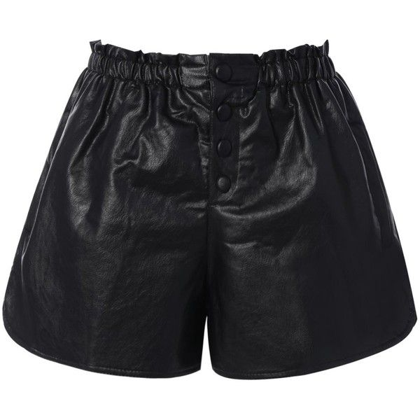 Button Faux Leather Bud Shorts (160 NOK) ❤ liked on Polyvore featuring shorts, vegan leather shorts, faux-leather shorts, leather look shorts and button shorts