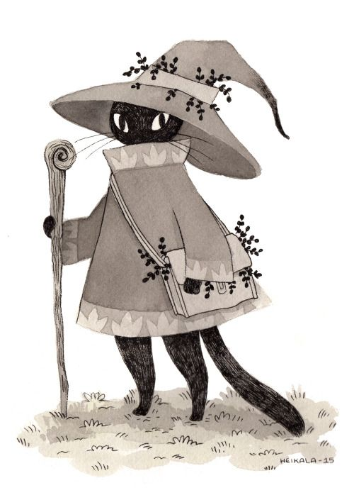 heikala: Inktober day 18, A wizard cat On a quest to find the magical catnip.