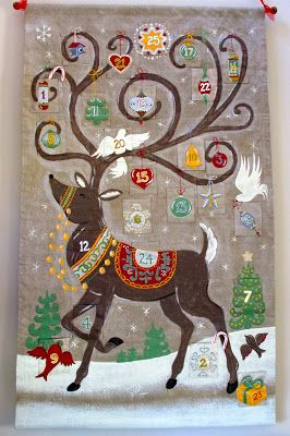 """Would make a cute """"quilted"""" Advent calendar [this is an Advent calendar from Pottery Barn   Cupcakes 'n Daisies]"""