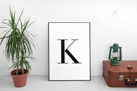 K Letter Print Wall Art Prints Printable Art by ParadigmArt