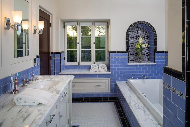 Blue Subway Tile Bathroom With Black Tile Trim White Hex