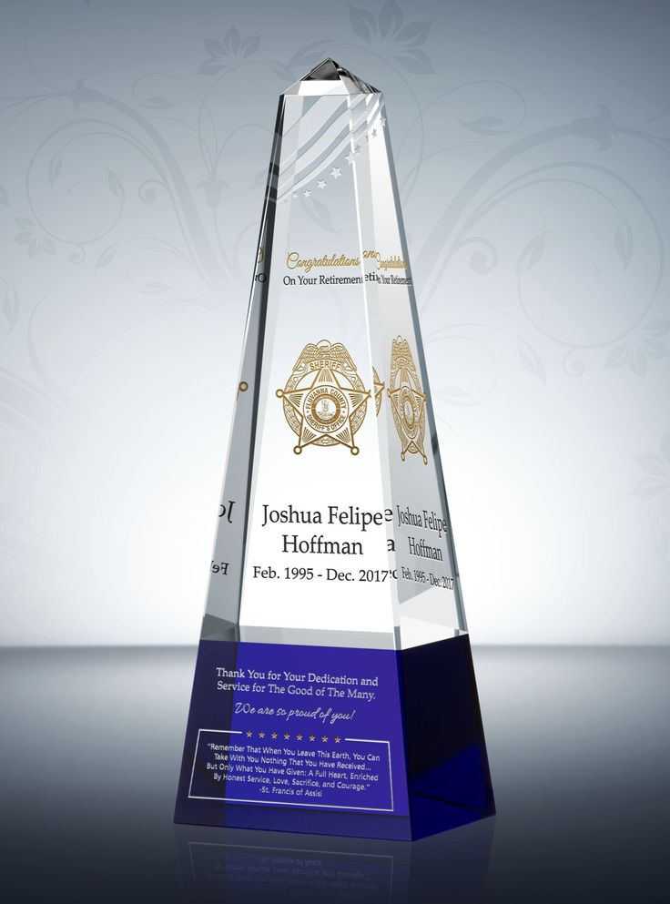 Honoring the Retiring Police Officer with this gorgeous Police Thin Blue Line Retirement Award. This stunning, two-tone crystal memento with thin blue line emblem is a perfect retirement gift to acknowledge the retiring officer for his or her services. #Police #Retirement #Gift #Awards #Plaque #LawEnforcement #PoliceRetirement #PoliceGift #PolicePlaque