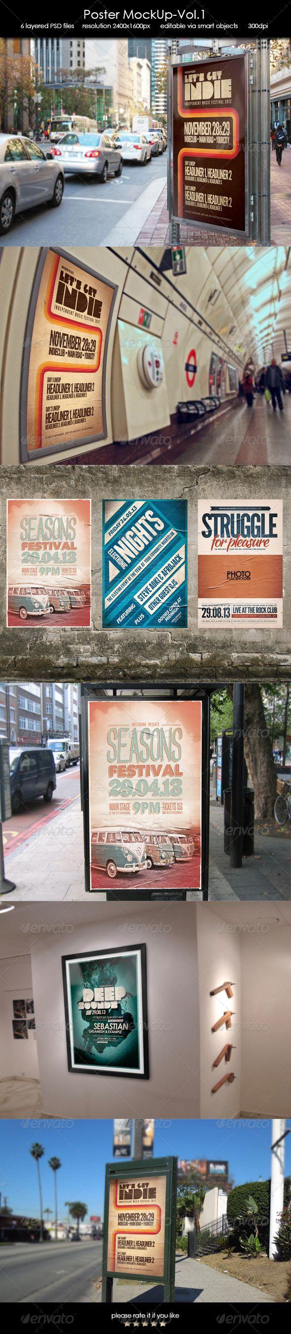 6 poster design photo mockups - Poster Mockup Vol 1