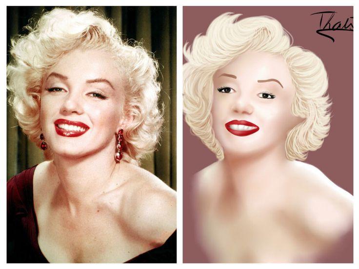 Marilyn Monroe-Request/Challenge Realistic Version by ThaisMarino-Sensei.deviantart.com on @DeviantArt