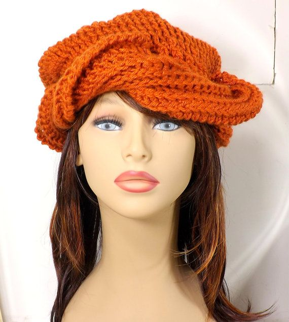 Click #strawberrycouture Burnt Pumpkin Orange Womens Hat Turban Crochet Hat Turban Casual Hat Turban Head Wraps Chemo Headwear Samantha Crochet Beanie Turban by strawberrycouture