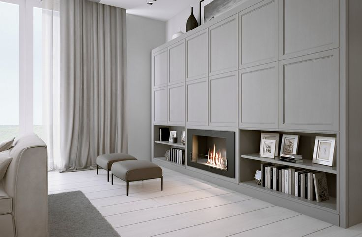Bioalcool fireplace, push and pull doors