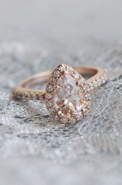 Gorgeous Pear Shaped Rose Gold Diamond Ring