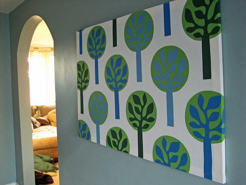 Cheapest, easiest wall art ever.  IKEA fabric.